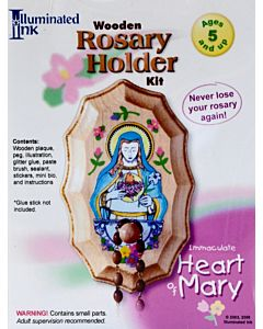 Wooden Rosary Holder Kit Immaculate Heart of Mary