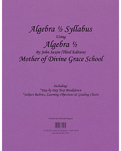 Algebra 1/2 Syllabus (Saxon 3rd Edition)