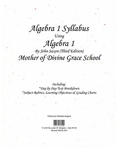Algebra I Syllabus (Saxon 3rd Edition)