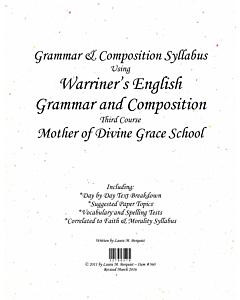 Grammar & Composition Syllabus (Warriner's 3rd Course)