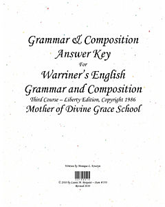 Grammar & Composition Answer Key (Warriner's 3rd Course (c) 1986)