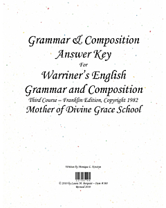 Grammar & Composition Answer Key (Warriner's 3rd Course (c) 1982)