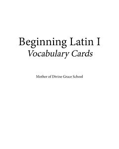 Beginning Latin I Vocabulary Cards