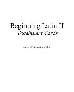Beginning Latin II Vocabulary Cards