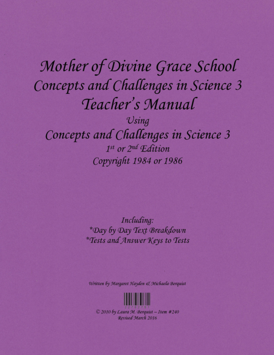 Concepts And Challenges In Science Book 3 8th Grade Teachers Manual