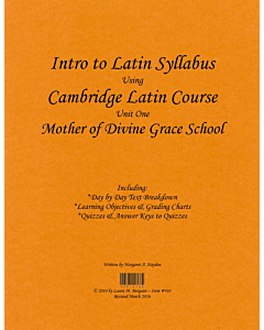 Intro to Latin Syllabus (Cambridge Fourth Edition - Unit 1)