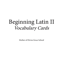 Beginning Latin II Vocabulary Cards
