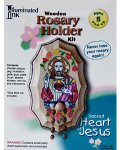 Wooden Rosary Holder Kit  Sacred Heart of Jesus