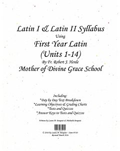 Latin I & II Syllabus (Henle First Year Latin - Units 1-14)
