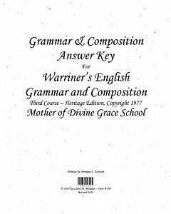 Grammar & Composition Answer Key (Warriner's 3rd Course (c) 1977)